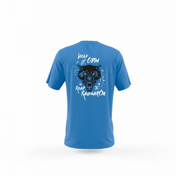 camiseta hombre wolf of odin azul trasera