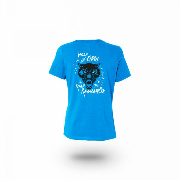 camiseta mujer wolf of odin azul trasera
