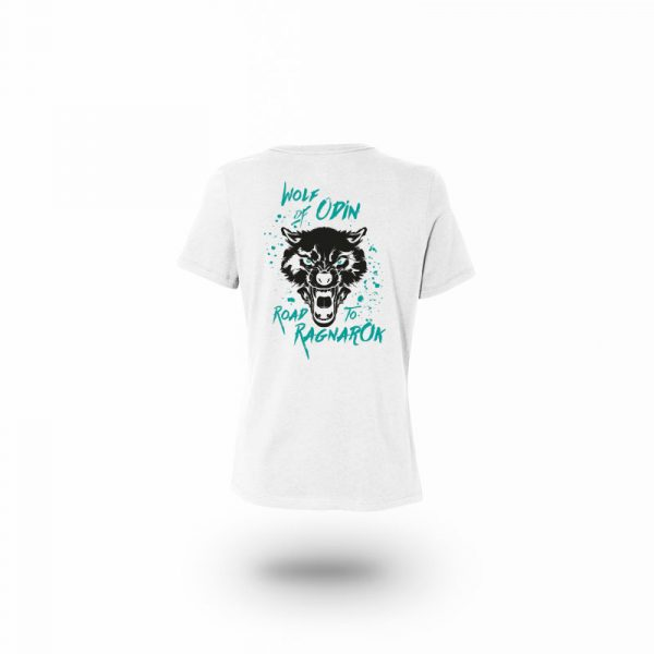 camiseta mujer wolf of odin blanca trasera
