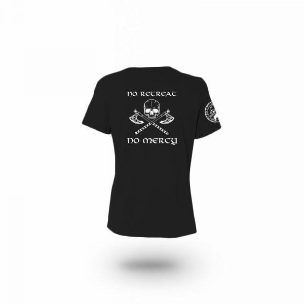 camiseta mujer no mercy negra trasera